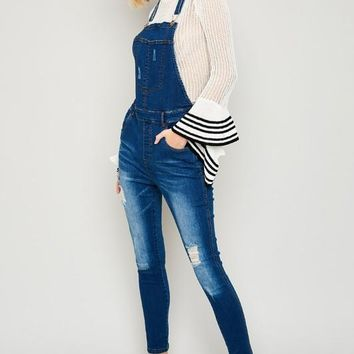 O Ring Distressed Denim Overalls