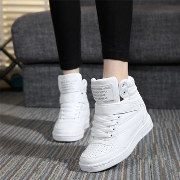 2016 spring autumn high heels ankle boots women casual shoes height increased wedges C