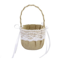 Rustic Burlap Wedding Flower Girl Basket White Lace Bow = 1932133444