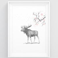 Large wall art PRINTABLE, Moose decor, Moose art print, Moose print, Moose wall art, Bedroom art, Large wall print, Woodland animal wall art