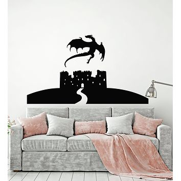 Vinyl Wall Decal Fairy Tale Dragon Full Moon Stars Castle Child's Room Stickers Mural (g298)