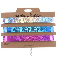 Mulit Color 3Pc Iridescent Holographic Choker Necklace
