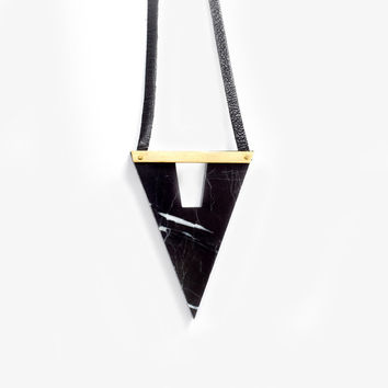 black marble triangle neckalce