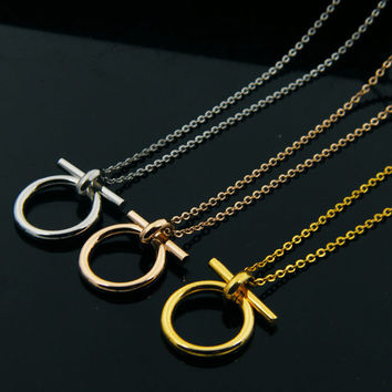 New 18K Gold Plated Personalized Fashion Small Pendant Necklace for women Stainless Steel Vintage Lucky Horseshoe Necklace Mens