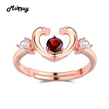 MoBuy MBRI033 Unique Love Heart Gemstone Garnet Ring 925 Sterling Silver Rose Gold Plated Engagement Fine Jewelry For Women Gift