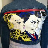 "Roy Lichtenstein Hand Painted Studded Denim Jacket ""Driving In Car"""