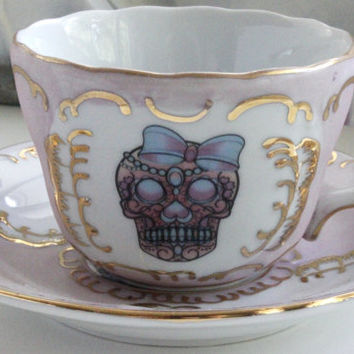 Pink and Gold Sugar Skull Teacup & Saucer Set, Sugar Skull Tea, Tea Set Available, Sugar Skull Tea Set, Los Muertos Tea, Sugar Skull China