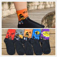 1 pair men and women Harajuku style cartoon cotton socks Halloween design  winter women lady girl cotton socks