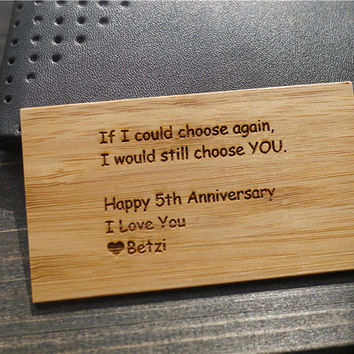Wallet Card , Wallet Insert Card , Wood Wallet Insert Card , Engraved Wallet Insert Card , Personalized Wallet Insert Card , Valentines Gift