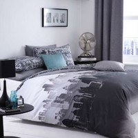 City Scape Skyline Double Duvet Bed Linen Set