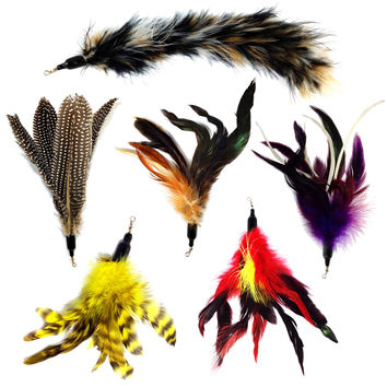 Pet Fit For Life Multi Piece Replacement Feathers Pack Plus Bonus Soft Furry Tail For Interactive Cat and Kitten Toy Wands Brown '