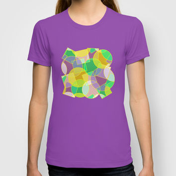 Stained glass stylish colorful geometric mosaic. Abstract circles and squares seamless pattern. T-shirt by Natalia Bykova