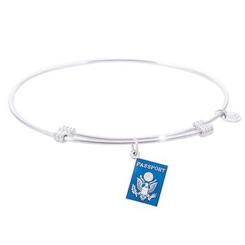 Sterling Silver Tranquil Bangle Bracelet With Passport Charm