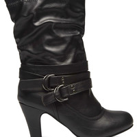 Buckled Strap Slouchy Boots | Wet Seal