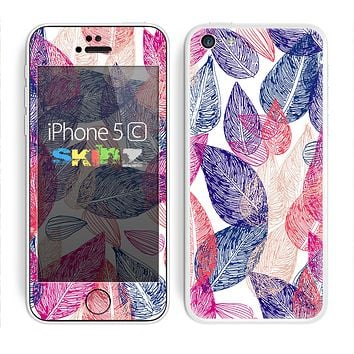 The Seamless Pink & Blue Color Leaves Skin for the Apple iPhone 5c