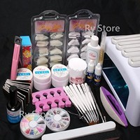25 in 1 Professional Nail Art UV Gel Kit 36W UV Lamp Timer Dryer Brush Buffer Tool Cuticle Pusher Sand Block Files Side Clipper Top Coat Nail Tips Glue Set #50