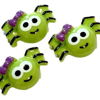 Cute green spider w/ purple bow resin cabochon 20x28mm / 1-5 pieces