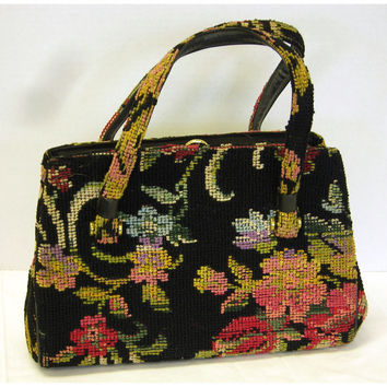 Vintage 1960s Tapestry Floral Pattern Carpet Bag Type Two Handle Purse Handbag