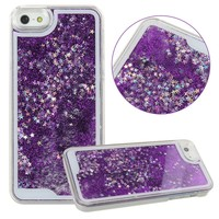 iPhone SE Case,iPhone 5S Case,iPhone 5 Case,iPhone SE Liquid Case,iPhone 5S Liquid Case,ikasus(TM) Creative Design Flowing Liquid Bling Glitter Hard Case for Apple iPhone SE 2016 & iPhone 5S 5 (Dark Purple)