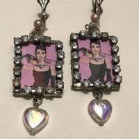 Vtg Audrey Hepburn Earrings / Pink and Black Shadow Box Earrings / Rhinestone Frame Audrey Hepburn Portrait / Holographic Heart Shaped Beads