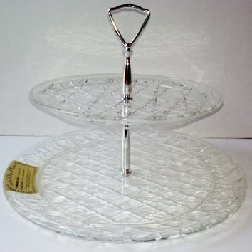 Vintage Trelawney TM New Crystal Cut Double Tier Dish Server 1310 Crystal Clear Washable Unbreakable Kitchen Decor Party Serving Tray