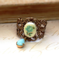 Something Blue  Vintage Ring With A Teal Blue by roomofyourown
