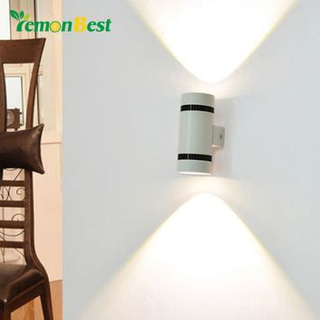Modern 6W LED Wall Light Up Down Cylinder COB Wall Lamp Bedroom