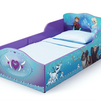 Blue Bed For Toddler Big Kid Bed With Frozen Disney Theme for Bedroom