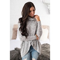 Brynlee Turtleneck Top (Grey)