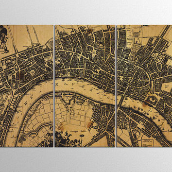 Old London Map Wood Wall Art on Natural Wood Panels