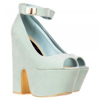 Onlineshoe Demi Wedge Peep Toe Chunky Heels - Velcro Ankle Strap - Mint Suede - Onlineshoe from Onlineshoe UK