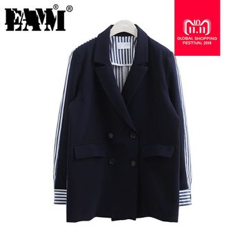 [EAM] 2018 AutumnWinter  Fashion Full Sleeve Striped Spliced Turn-down Collar Double Breasted New Jacket Women's Coat LA100