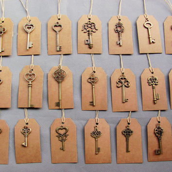 Mixed 20pcs Antique Bronze Vintage Keys&20 pcs Kraft Tags Wedding Skeleton Keys Charm old Fahshion keys