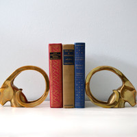 Vintage Brass Bookends, Ibex, Ram's Head, Hollywood Regency Gold Tone Animal Book Ends, Figurines with Horns