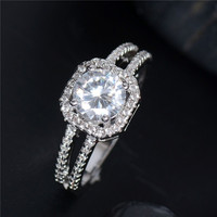 925 Sterling Silver Brilliant Cubic Zirconia Women's Finger Ring = 1933108164