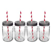 Cathy's Concepts Personalized Drinking Mason Jars - Red (Set of 4)