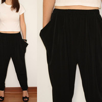 Harem Pants Yoga Pants Loose fit Pants in Black for by KSclothing