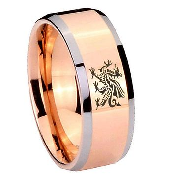 8MM Rose Gold Dragon Bevel Edges 2 Tone Tungsten laser Engraved Ring