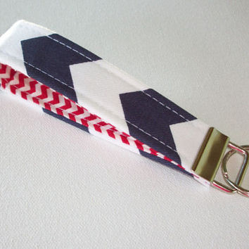 Key FOB / KeyChain / Wristlet key strap  - Navy Chevron zig zag with red  - gift for her under 10