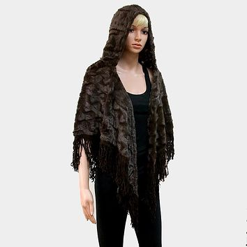 Hooded Fur Open Poncho With Suede Fringes
