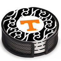 Thirstystone VUTN4-HA17 Stoneware Drink Coaster Set with Holder, University of Tennessee Pattern
