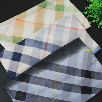 Korean Summer Gradient Plaid Cotton Linen Beach Scarf [6047075905]