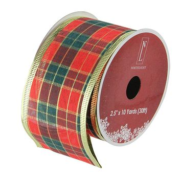 """Pack of 12 Green and Red Stripe Wired Christmas Craft Ribbon Spools - 2.5"""" x 120 Yards Total"""