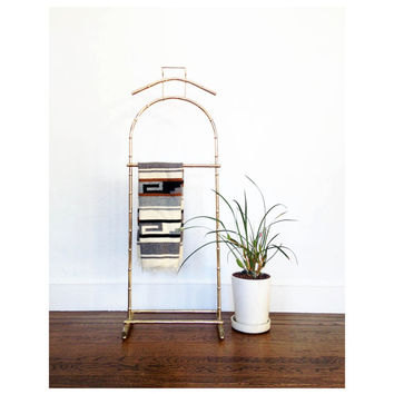 Vintage Brass Bamboo Clothing Rack / Valet