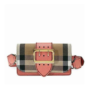 Burberry Small Buckle Bag in House Check and Leather - Cinnamon Red