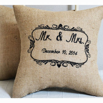 Mr & Mrs Wedding Gift Pillow , Anniversary pillow, wedding pillow , embroidery gift pillow , Personalized pillow