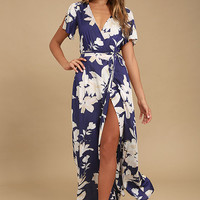Azalea Regalia Navy Blue Floral Print Wrap Maxi Dress