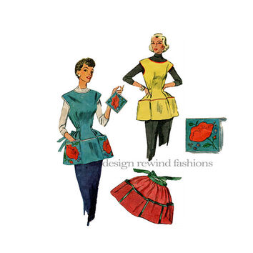 1950s Cobbler's Garden Artist Full & Half Aprons, Pot Holder Size LARGE Bust 38 40 Simplicity 4492 Vintage Craft Sewing Patterns Easy to Sew
