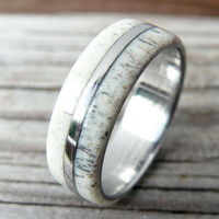 Titanium Deer Antler Ring With Titanium Stripe