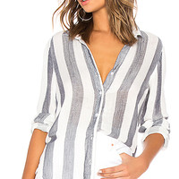 Bella Dahl Fray Tulip Hem Button Down in Blue & White Stripe